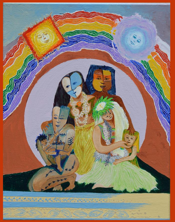 Family The family unit is also another very important aspect of CHamoru culture, and one that remains central to relationships today. In this painting I emphasize the importance of family with reference to Puntan and Fo'ona- the legendary brother and sister responsible for creating the people and the island of Guam, hovering above the family in the rainbow.