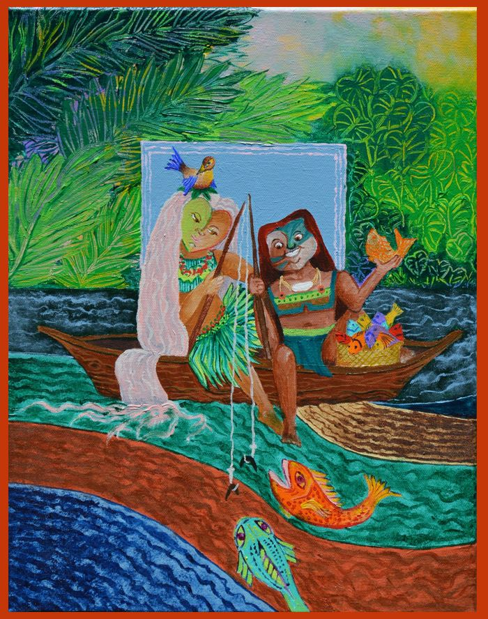 Fishing the River Living along the river not only provided water and excellent soil for sustenance, but also fish and other edible sea creatures. This painting also shows an important connection between the native people and nature.