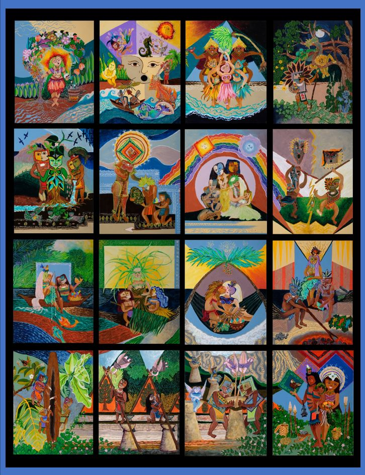 This large grouping represents a precontact village and the activities that typically occurred within a Chamorro community.  As you can see, each painting is an artwork that can stand on its own, but for the exhibit were painted as parts of one, representing the interconnectivity of Chamorro communities.  Each of the 16 paintings are presented individually in the following slides.