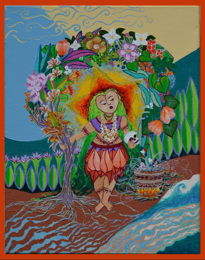 This is The Suruhana or herbalist, a person much respected in the community as a healer. Here we see the Suruhana performing her venerations to the ancestors and an array of plants that she might use for her medicines.